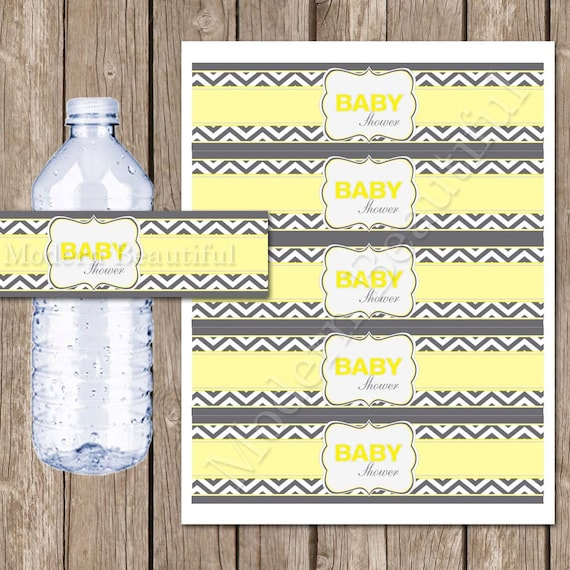 Yellow And Grey Chevron Baby Shower Water Bottle Labels Chevron