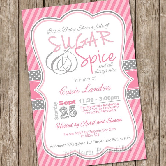 sugar and spice baby shower invitation girl baby shower invitation