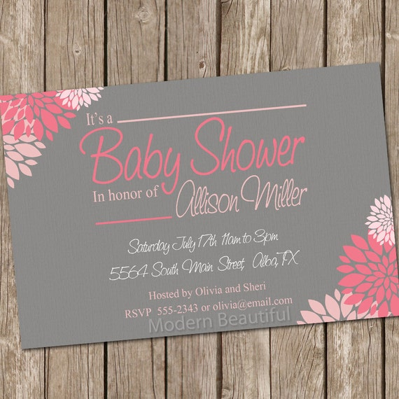 Flower girl baby shower invitation pink grey flowers printable