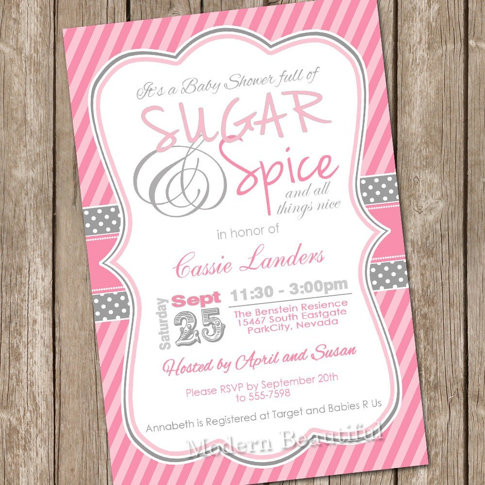 sugar and spice baby shower invitations | wblqual, Baby shower invitations