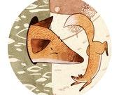 Aesop's Fables 'The Swollen Fox' Watercolour Gouache Painting Illustration Giclee Art Print