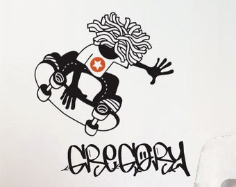 Skateboard Stickers, Name Decal, Custom Name Stickers. Skateboard Wall Art, Personalised Names, Name Sticker, Boy Room Name, Boy Room Decor