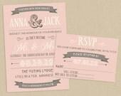 Printable Wedding Invite and RSVP Invitation Set - Romantic Blush Cream and Gray Typographic Poster Style - Banner