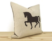 Horse pillow cover in chocolate brown and natural beige with houndstooth accent   16x16 40x40 decorative throw pillow case, cushion cover