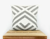 Aztec pillow cover - Geometric pillow - Handprinted accent pillow in grey and white with graphic chevron design - 16x16 pillow case - ClassicByNature