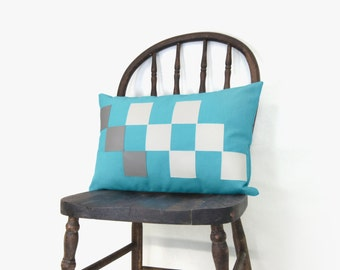 SALE || Blue outdoor pillow - Patio decor - Summer - Off white, grey and aqua square appliques - Lumbar pillow cover in 12x18 inches