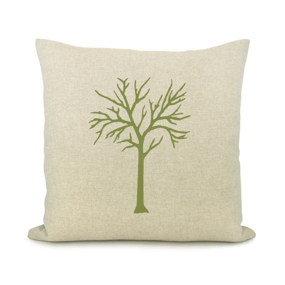 Woodland decor, Shabby chic, Rustic home decor, 16x16 decorative throw pillow - Apple green tree print pillow cover and damask back