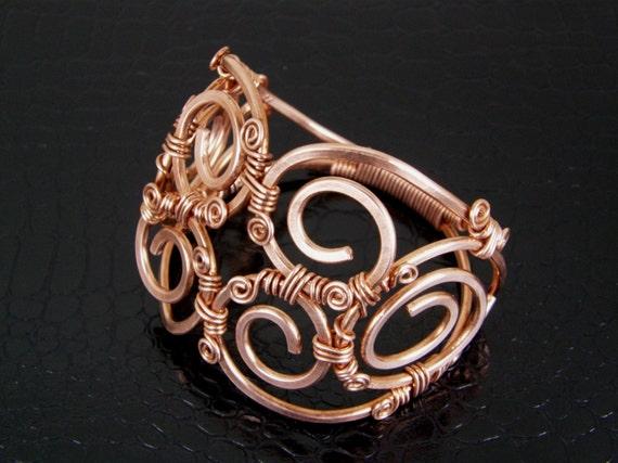 Womens Wire Wrapped Copper Cuff Bracelet