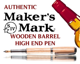 Makers Mark Handmade Wood Fountain Pen, Made from Aging Barrels  - gift for drinkers of Makers Mark - bourbon drinkers gift -whiskey gift