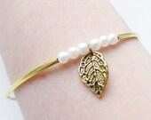 Leaf Bangle Bracelet // Gold tube, white pearls, silver beads, transparent crystal wrap, stacking bracelet, modern design, eternity, trees