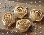 "4pcs Dark Champagne Satin Rose Flowers For Headwear Decor Fashion Costume 1.37"" Wide"