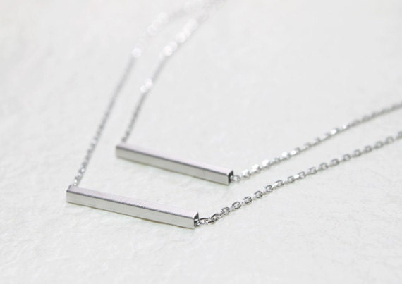 Simple square Tube double layers chain Necklace - S2076-1