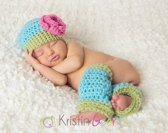 Rose Flower Hat and Leg warmer Set