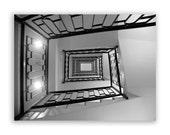 Paris Photography, Spirals, Paris decor, geometric home decor, angular abstract decor, stairs - Black & White Fine Art Photograph