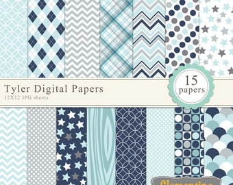 Tyler scrapbook paper 12x12, boy digital scrapbooking paper, royalty free- Instant Download