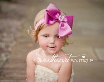 Large Spring Orchid Sweet Satin Bow with Square Crystal Button Center - Baby Headband, Girls Headband or Hair Clip, Photography Prop