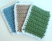 Crochet Sponge Dishcloth Washcloth - THICK - Set of 3 - Sage Green, Tan, Slate Blue - 100% Cotton