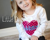 Girls Sweet Heart Appliqued and Monogrammed Shirt - Fuchsia and Turquoise