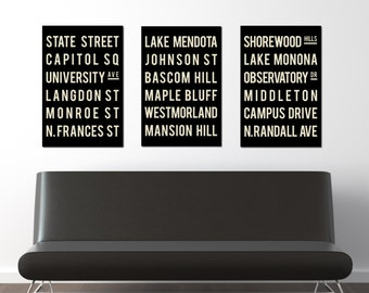 MADISON Art Poster.  Subway Sign. Home Decor. Wisconsin Typography Print. Set of 3
