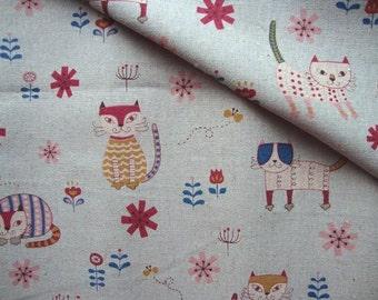 SALE - Japanese Fabric Cotton Yuwa - Kawaii Cats Blue - a yard
