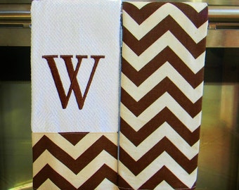Monogrammed Kitchen Towels or Hand Towels in Brown/ Natural Chevron | Housewarming Gift | Hostess Gift | Gifts for Her | Wedding