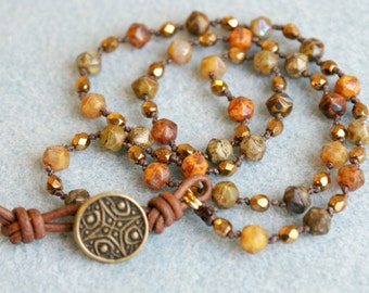 Bronze knotted wrap bracelet, necklace, Boho chic, Bohemian beach bracelet, surfer girl, brown, green, orange, olive, trendy