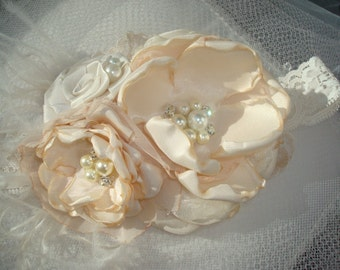 Beige Baby Girl Flower Headband, Birthday Headband, Wedding Headband, Flower Girl, Baby, Flower Hair Clip, Hair Bow, Hairbow, Flower Girl