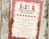 BABY Q invitation baby boy shower gender reveal western gingham paisley leather red cowhide diaper shower (item 1220) shabby chic invitation