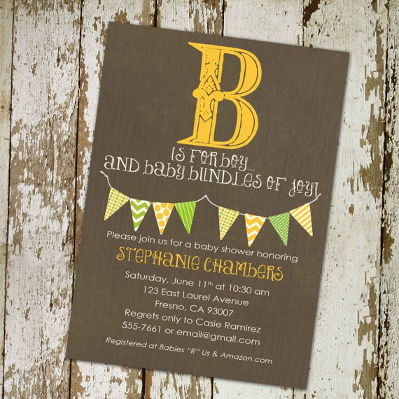 baby boy baby shower invitation B is for boy bunting banner baptism john deer shower baby sprinkle diaper item 1258 shabby chic invitations