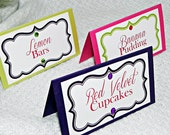 Folded Food/Dessert Table Tent Cards with Rhinestones
