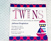 PRINTABLE Pink and Blue Nautical Twins Shower Invite