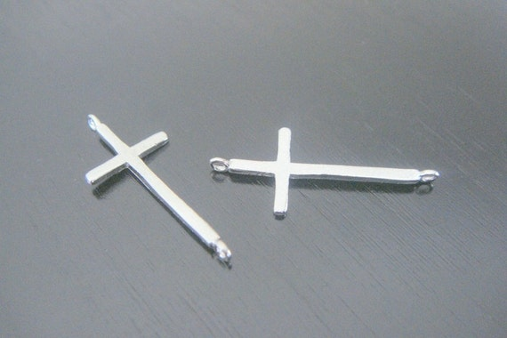 Matte silver sideway cross connector bead disk earring and