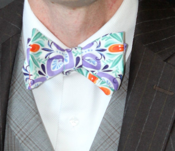 Men's Bow Tie in Purple and Turquoise Funk - Self tying - freestyle - Groomsmen gift