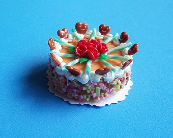 Dollhouse Miniature Cake Magnet Sponge Cream Smiley Cute Mini Food Supplies