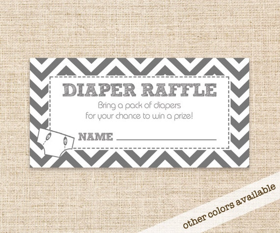 Gray Diaper Raffle Card For Baby Shower   Grey Diaper Raffle   Chevron  Design   Instant Download