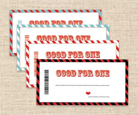 Printable Coupons Father's Day Gift Blank Coupons