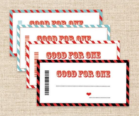 Printable birthday gift coupons