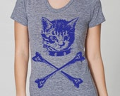 womens kitten crossbones American- Apparel athletic tri blend gray- available in S, M, L , XL WorldWide Shipping