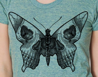 Womens butterfly skull shirt- American Apparel tri blend lemon- available in S, M, L , XL WorldWide Shipping