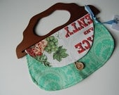 1967 Green Calendar Girl Vintage Towel purse with wooden handle