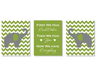 Modern Chevron Elephant Polka Dot Trio - Set of Three 8x10 Nursery Prints - First We Had Each Other, Then We Had You, Now We Have Everythin