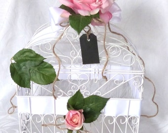 White Cage Card Holder blush rose wedding card holder victorian wedding