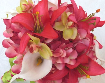 Tropical wedding bridal bouquet and matching boutonniere frangipani real touch calla lilies orchids beauty lilies