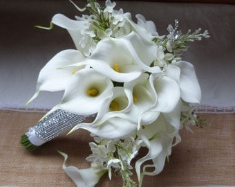 White Calla lily wedding bouquet Real touch mini white calla lily and creme lilac bridal bouquet