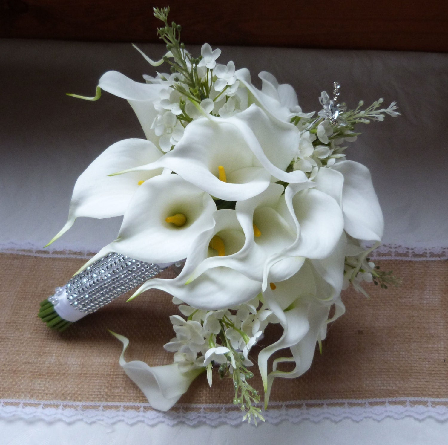 Lily Flower Wedding Bouquet: White Calla Lily Wedding Bouquet Real Touch Mini White Calla