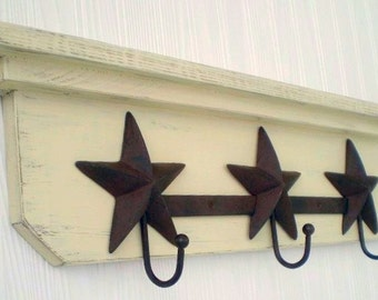 Primitive Americana Wall Hanger, Star Hooks Shabby Chic, French Country, Country Western Decor, Clearance