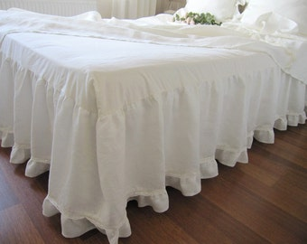 Off white Ivory linen Dust ruffle Bedskirt base coverlet, box spring,  for  Queen bed tiered ruffle lace trim,bottom small ruffle
