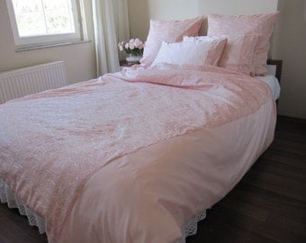pale Pink bedding  Double size FULL Queen duvet cover 83x83 romantic shabby chic bedding-embroidered linen bedding sets 2 pillowcases