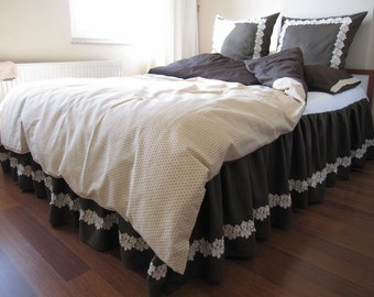 sale Queen Linen Bed skirt - Dust ruffle set with 2 pcs euro sham pillow solid Dark brown linen ivory cotton daisy lace shabby chic bedding