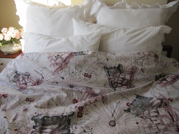 The Oldest World map print duvet cover Twin XL-Full-Double-QUEEN-Super King size nautical bedding- Grey red beige cream Book bedding